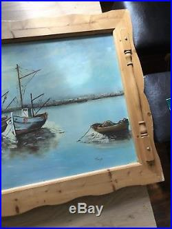 Large Oil On Board Painting Fishing Boats Harbour sea 140 cm 79 cm FRAMED SIGNED