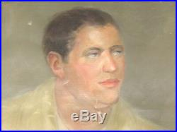 Large Old Vintage Oil Painting 1940's Young Man Portrait Signed National Academy