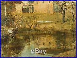 Large Original Vintage, Signed Stucco Home Landscape Oil Painting, No Reserve