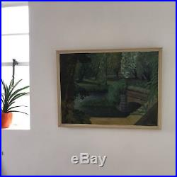 Large Signed Abstract Oil On Board Mid Century Vintage Painting Green Scenery