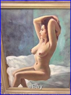 Large True Vintage Mid Century Oil Painting Nude Portrait Beautiful Woman Signed