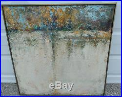 Large VTG Mid Century Abstract Oil Painting Modern Art Signed PATCH 34 Square