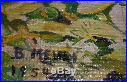 Large Vintage 1950`s Nude Eva Sculpture In Park Oil Painting Artist Meuli