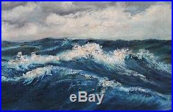 Large Vintage 28x40 1949 Seascape Painting Waves Clouds Nautical Gilt Frame