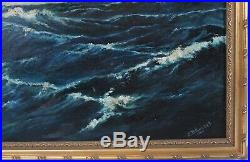 Large Vintage 28x40 1949 Seascape Painting Waves Clouds Nautical Gilt Frame