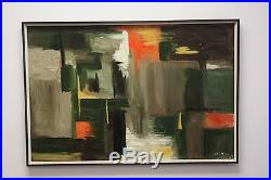 Large Vintage ABSTRACT OIL PAINTING MID CENTURY MODERN Signed Carroll 65