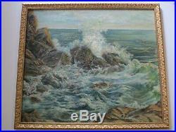 Large Vintage Antique Coastal Beach Rocks Seascape Painting Impressionism 1940
