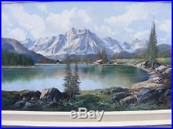 Large Vintage Gallery Oil Painting Mountain Scene Landscape Signed De Rosa