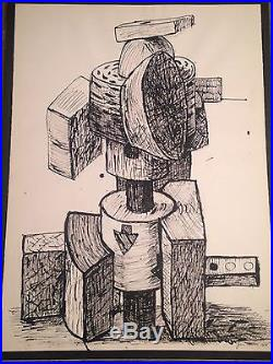Large Vintage JON IMBER signed painting / drawing modernist cubist abstract