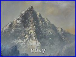 Large Vintage Landscape Mountain River Front Scene Oil Painting On Canvas Signed