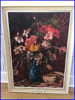 Large Vintage MID Century Oil On Canvas Expressive Large Floral Painting Signed