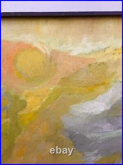 Large Vintage Mid Century Abstract Oil Painting 1963 36x24