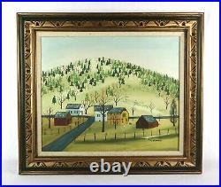 Large Vintage Naive Primitive Folk Art Oil Painting of Village Landscape Signed