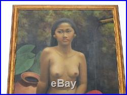 Large Vintage Nude Painting Bali Tropical Female Woman Model Outdoor Pot Soroso