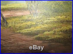 Large Vintage Original Oil Painting On Canvas'Landscape', Signed By J. Kok
