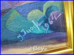 Large Vintage Painting Abstract Cubism Figural Iconic Modernism Mystery Artist