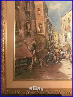 Large Vintage T Bezio European Street Market Scene Oil Painting -Signed/Framed