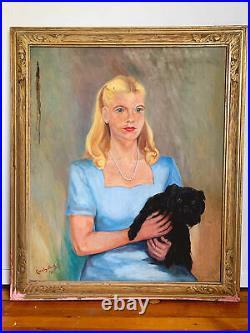 Large Vintage Young Girl & Pet Dog Oil Portrait Painting Framed 1945 Signed