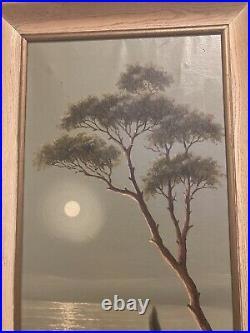 Large antique landscape oil painting dusk signed vintage