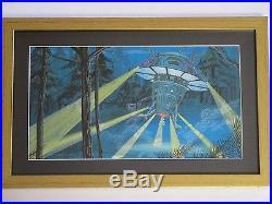 Larry Ortiz Illustration Painting Ufo Space Earth Landing Invasion Alien Vintage