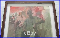 Larry Rivers Vintage Signed & Framed Painting Self Portrait Well Listed