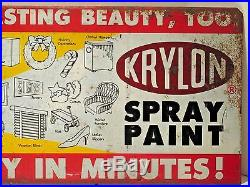Late 50's Krylon Display Sign Metal VTG Spray Paint Lithograph Patina Garage
