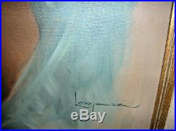 Leo Jansen Original Painting Signed Front & Back Look at those Eyes