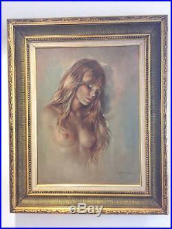 Leo Jansen Signed Vintage Original Boudoir Art Nude Woman Portrait Oil 24x18