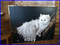Letterman Painting Vintage White Persian Cat On Large Canvas