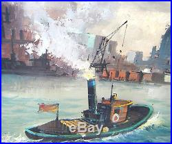 Lg VINTAGE 1950s ORIG. OIL/CANVAS MARINE BOATS SHIPS RIVER PAINTING SIGNED