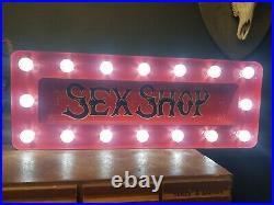 Light up vintage style Painted Sign Tattoo Fairground Circus sexshop peepshow
