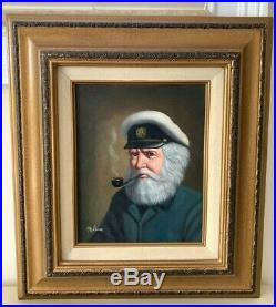 Listed American Artist David Pelbam Vintage Oil Painting Sea Captain Smoking