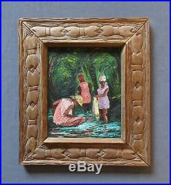 Listed Haitian Artist Andre Labbe Vintage 1975 Figural Genre Oil Painting