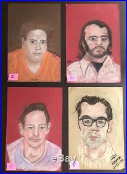 Lot Of 30! Vintage 1970s Orig Artist Signed Pastel Portrait Painting CLAUDIA +