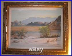 Lovely Vintage California Plein Air Impressionism Desert Landscape Oil Painting