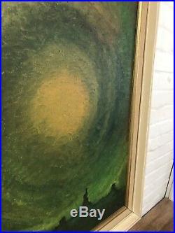 Lrg Oil On Canvas Mid Century Modernist Signed Skyline 1970s Vintage Antique