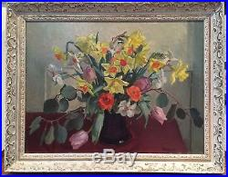 Lrg Signed Felicity G Bush RCA Oil On Board Painting Vintage Welsh Daffodils