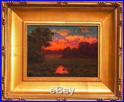 MAX COLE Oil Painting Original signed Landscape Antique Vintage Framed art 5300