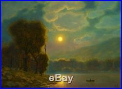 MAX COLE original oil painting landscape signed old vintage antique look moon