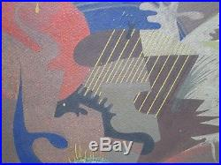 MID Century Abstract Painting 1940's Cubism Cubism Mystery Artist Modernism Vntg