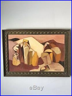 MID Century Modern Abstract Oil Painting Signed 1963 Vintage Cubism
