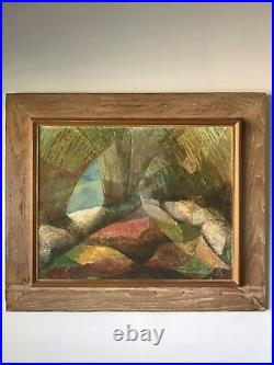 MID Century Modern Abstract Oil Painting -signed- 1950s Vintage Expressionist