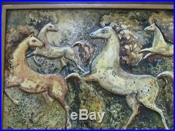 MID Century Modern Painting Abstract Expressionism Horse Modernism Signed Vntg