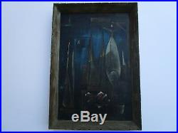 MID Century Painting Abstract Cubist Cubism Surrealism American 1950's Vintage
