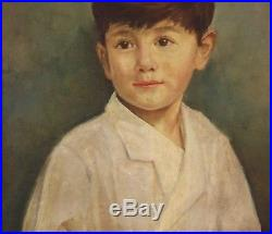 MODERN BRITISH Oil Painting Vintage Portrait of Boy. Indistinctly Signed c1950