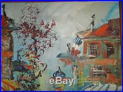 MORRIS KATZ (1932-2010) PARIS SETTING 1985 Signed Vintage Oil Painting FRAMED