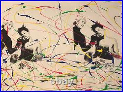 MR CLEVER ART POP ART STREET FIGHT VINTAGE ABSTRACT PAINTING contemporary deco