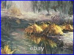 MYSTERY ARTIST Vintage Original Oil Painting Regionalism Signed Marsh Landscape