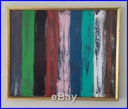M. Chavez Vintage Mid Century Modernist Abstract Expressionism Painting Signed
