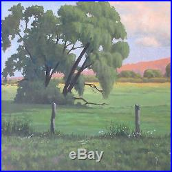 Mackay Signed Painting Vintage California Plein Air Landscape Fields Of Green